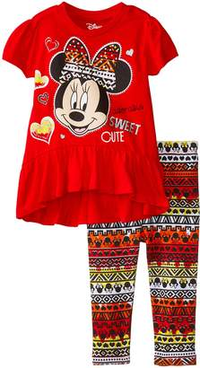 Disney Baby Baby Girls' Minnie Mouse Aztec Legging Set with Peplum Top, Pink
