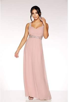 Quiz Dusky Pink Chiffon V Neck Embellished Maxi Dress