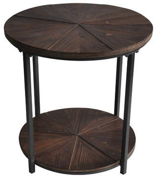 Laurèl Foundry Modern Farmhouse Gallien Round Metal and Rustic Wood End Table