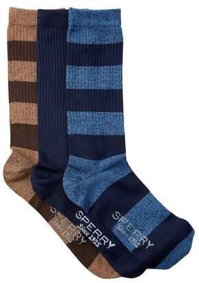 Sperry Soft Extreme Rugby Stripe Crew Socks - Pack of 3