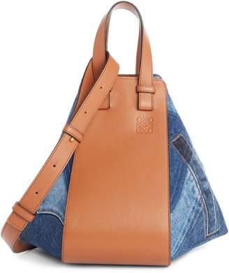 Loewe Small Hammock Tri-tone Denim & Leather Hobo