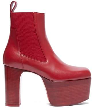 Rick Owens Platform Leather Chelsea Boots - Womens - Red