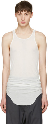 Rick Owens White Ribbed Tank Top $240 thestylecure.com