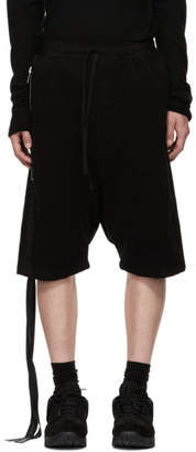 Unravel Black Cotton Dropped Shorts