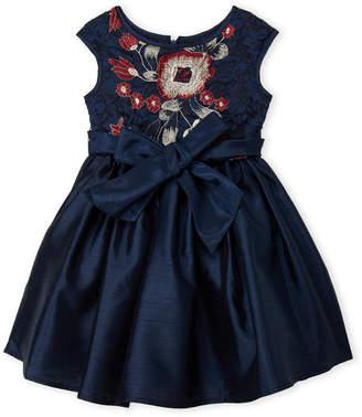 Pippa & Julie (Girls 4-6x) Embroidered Bow Waist Dress