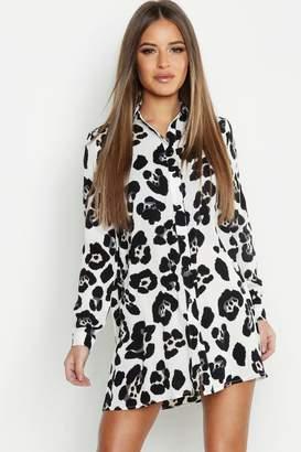 boohoo Petite Animal Print Shirt Dress