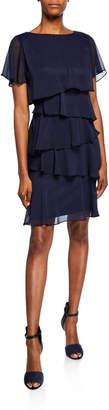 Tahari ASL Short-Sleeve Multitiered Chiffon Cocktail Dress