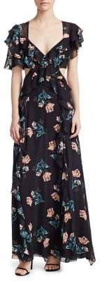 Nicholas Piper Silk Cutout Long Dress