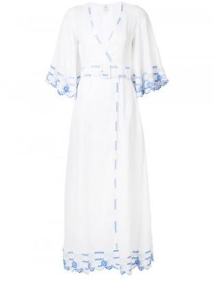 Gul Hurgel embroidered trim belted dress
