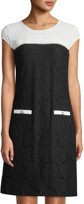 Karl Lagerfeld Paris Colorblocked Stretch Lace Cap-Sleeve Dress