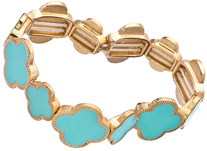Blu Bijoux Gold and Turquoise Cloverleaf Stretch Bracelet