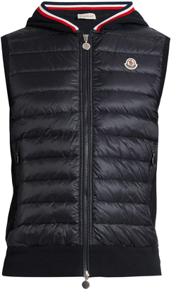 MONCLER Maglia knit-back quilted down gilet $730 thestylecure.com