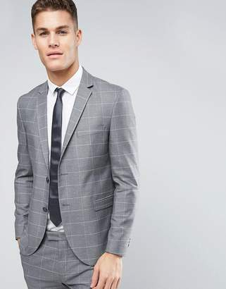 Jack and Jones Slim Suit Jacket with Check