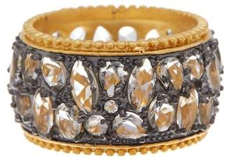 Freida Rothman Rhodium & 14K Gold Plated Sterling CZ Silver Anniversary Cigar Band Ring - Size 7