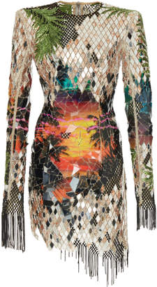 Balmain Mirror Embroidered Print Dress