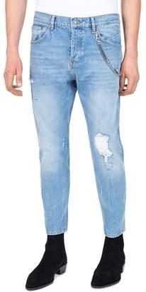 The Kooples Short Drop Slim Fit Jeans in Blue
