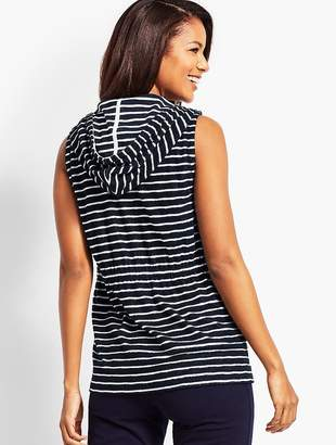 Talbots Saltwater Stripe Hooded Zip-Front Terry Vest