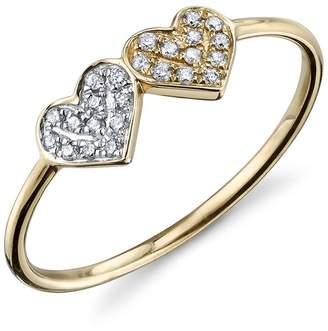 Sydney Evan Thin Diamond Double Heart Ring