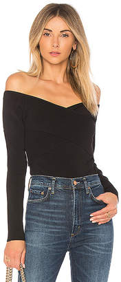 MinkPink Fitted Wrap Bardot Knit Tee