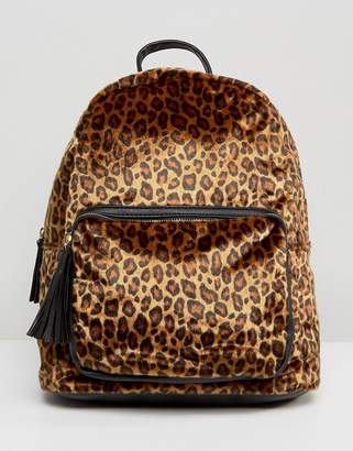 Pieces Leopard Print Backpack