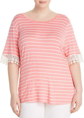 Junarose Plus Anni Striped Lace-Trim Tee