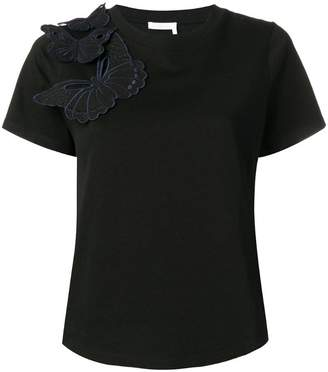 See by Chloe embroidered butterfly appliqué T-shirt