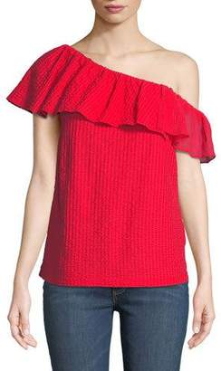 Club Monaco Lulapop Textured One-Shoulder Ruffle Top