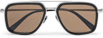 Brioni Aviator-Style Acetate And Brushed Silver-Tone Sunglasses