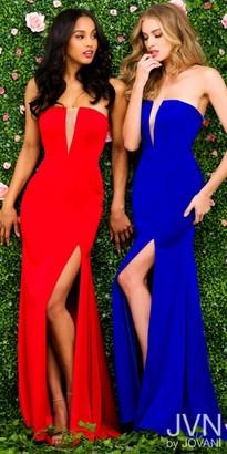 JVN by Jovani Strapless Illusion Inset High Slit Evening Dress $278 thestylecure.com