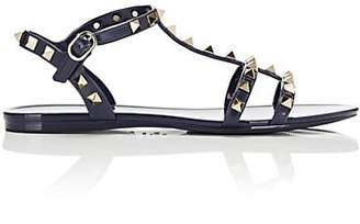 Valentino Women's Rockstud PVC T-Strap Sandals - Navy