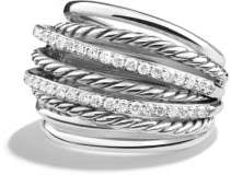 David Yurman X Crossover Dome Ring With Diamonds