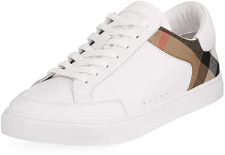 Burberry Rettford Men's Leather Low-Top Sneakers, White