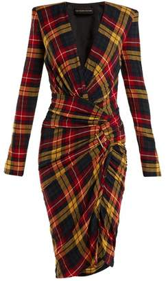 Alexandre Vauthier Asymmetric Checked Dress - Womens - Red Multi