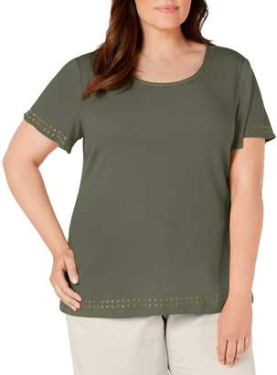 Karen Scott Plus Short Sleeve Studded Tee
