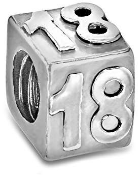 Tuscany Charms Sterling Silver 18th Cube Bead