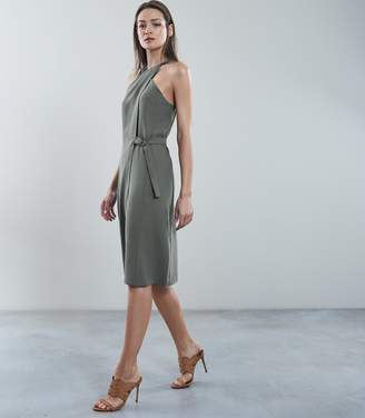 Reiss BEDA WRAP FRONT DRESS Thyme