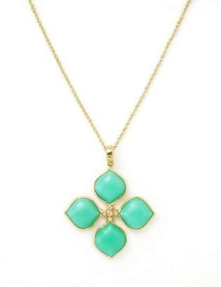 Elizabeth Showers 18K Yellow Gold Chrysoprase & Diamond Necklace