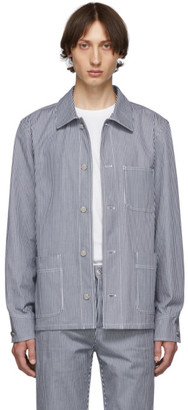 A.P.C. Navy and White Denim Striped Aaron Jacket