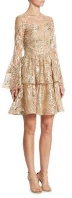 Marchesa Metallic Embroidered Bell Sleeve Dress