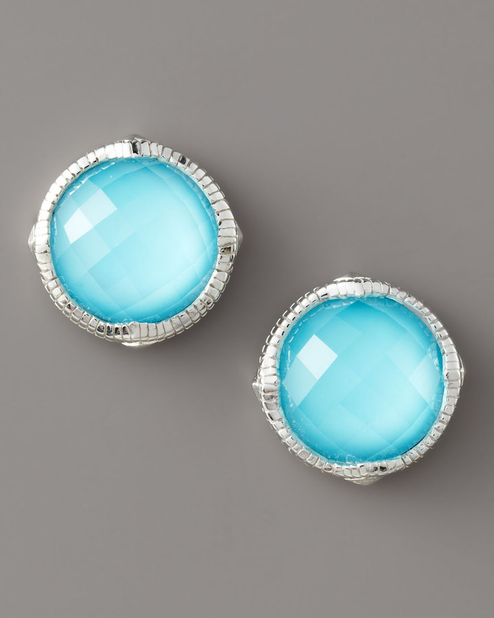 Judith Ripka Contemporary Turquoise Stud Earrings