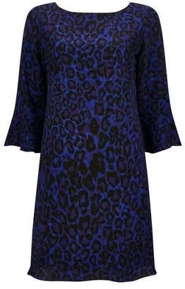 Wallis PETITE Blue Animal Print Flute Sleeve Shift Dress