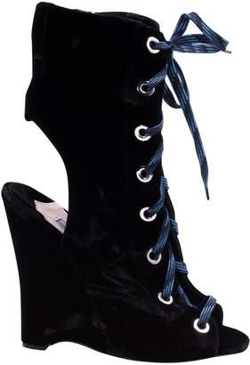 Prada Velvet open toe boots