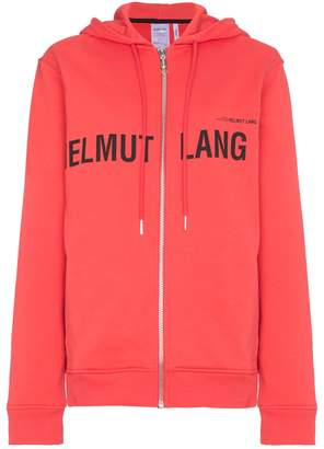 Helmut Lang red campaign print cotton zip hoodie