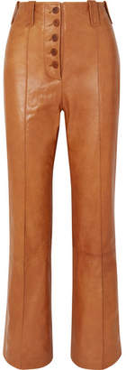 3.1 Phillip Lim Leather Flared Pants - Camel