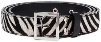 Amiri black and white zebra print leather belt