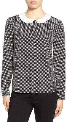 CeCe Polka Dot Contrast Collar Blouse $89 thestylecure.com