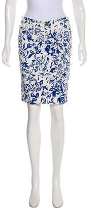 Current/Elliott Printed Denim Knee-Length Skirt