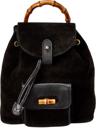 Gucci Black Suede Small Bamboo Backpack