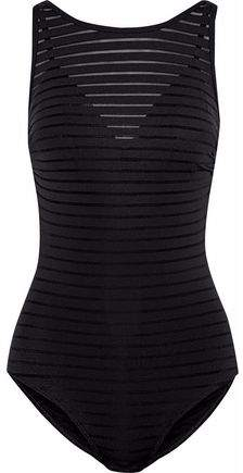 Jets Australia By Jessika Allen Layered Mesh-Trimmed Striped Swimsuit