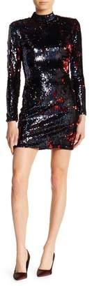 Dress the Population Katy Mock Neck Long Sleeve Sequined Dress